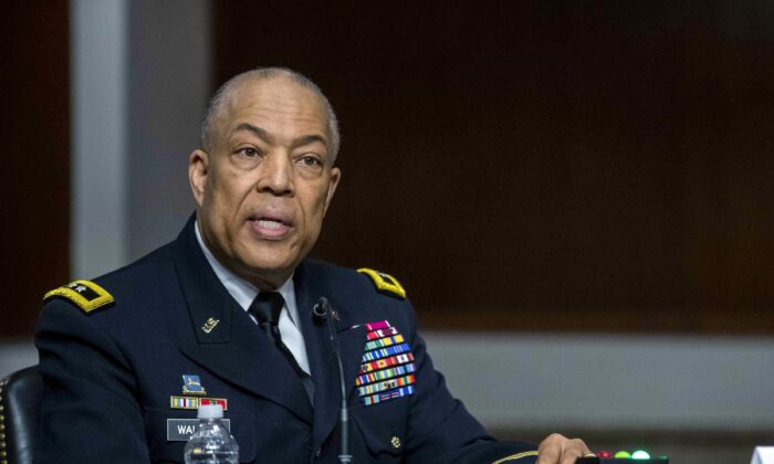 Commanding General District of Columbia National Guard Major General William J. Walker testifies during a Senate hearing at the U.S. Capitol in Washington on March 3, 2021. (Shawn Thew/Pool via AP)