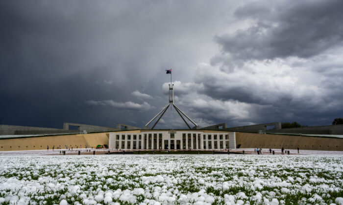 Hail at Parliament House in Canberra, Australia, on Jan. 20, 2020. (Rohan Thomson/Getty Images)