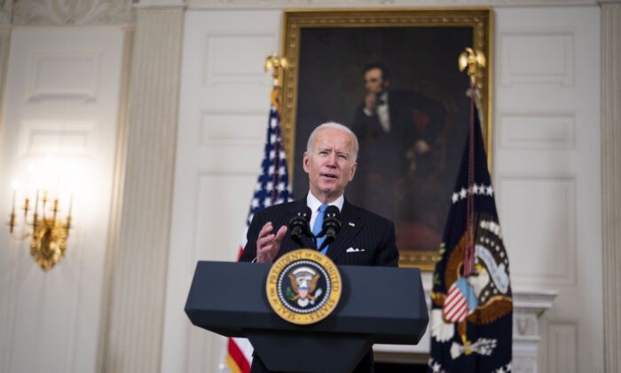 President Joe Biden speaks in the State Dining Room of the White House, on March 2, 2021. (Doug Mills/Pool/Getty Images)