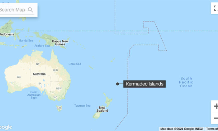 A map showing the location of the 8.1-magnitude earthquake near Kermadec Islands, New Zealand, on March 5, 2021. (Google)