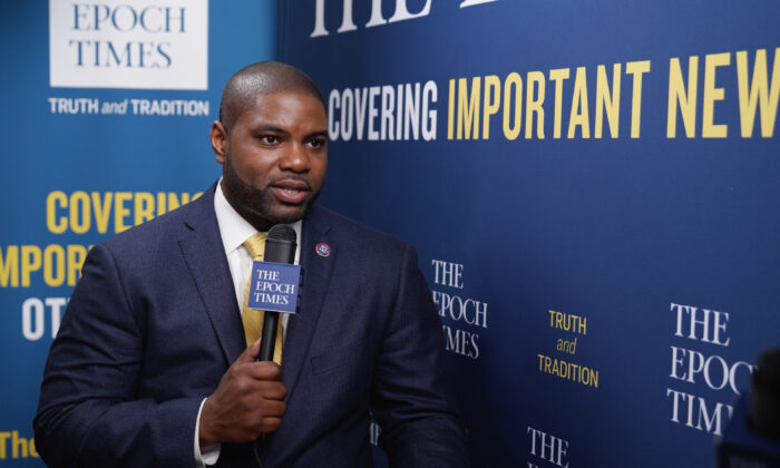 """Rep. Byron Donalds (R-Fla.) in an interview with the """"American Thought Leaders"""" program at the Conservative Political Action Conference (CPAC) in Orlando, Fla., on Feb. 28, 2021. (The Epoch Times)"""