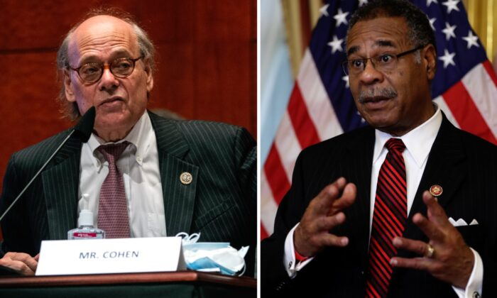 (L) U.S. Rep. Steve Cohen (D-Tenn.) speaks during a House Judiciary Committee hearing in Washington, on June 17, 2020. (Greg Nash-Pool/Getty Images); (R) Rep. Emanuel Cleaver (D-Mo.) makes brief remarks at the U.S. Capitol in Washington, on Feb. 11, 2020. (Chip Somodevilla/Getty Images)