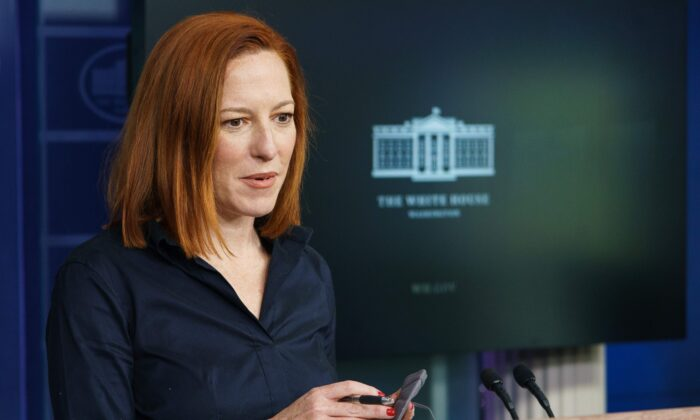 White House Press Secretary Jen Psaki speaks during a press briefing in the Brady Briefing Room of the White House on Mar. 4, 2021. (Mandel Ngan/AFP via Getty Images)