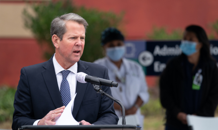 Georgia Gov. Brian Kemp speaks to the media outside of the Chatham County Health Department  in Savannah, Georgia, on Dec. 15, 2020. (Sean Rayford/Getty Images)