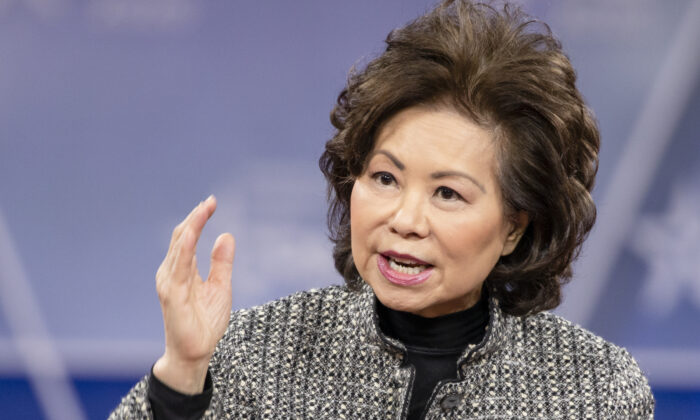 Then-Secretary of the Department of Transportation Elaine Chao speaks during the Conservative Political Action Conference 2020 (CPAC) hosted by the American Conservative Union in National Harbor, Md., on Feb. 28, 2020. (Samuel Corum/Getty Images)
