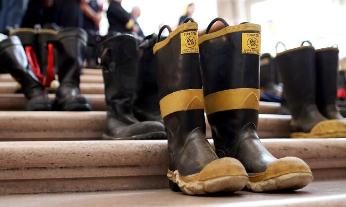 Firefighter boots in a file photo. (Justin Sullivan/Getty Images)