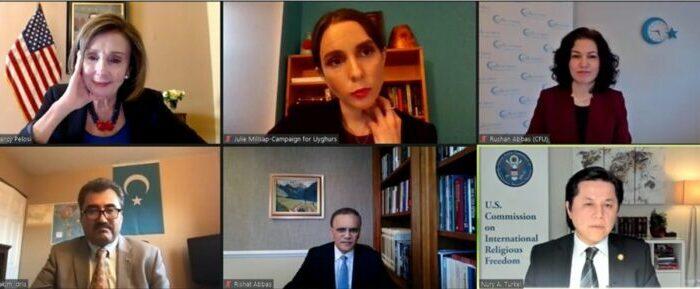 Nancy Pelosi meets with Uyghur advocates online. (CFU Press Release)