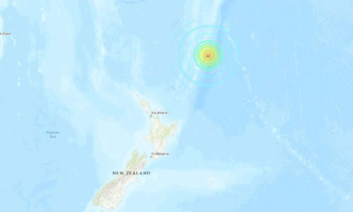 A tsunami warning was issued after an 8.1 magnitude earthquake hit near the coast of New Zealand on Thursday. (US Geological Survey)