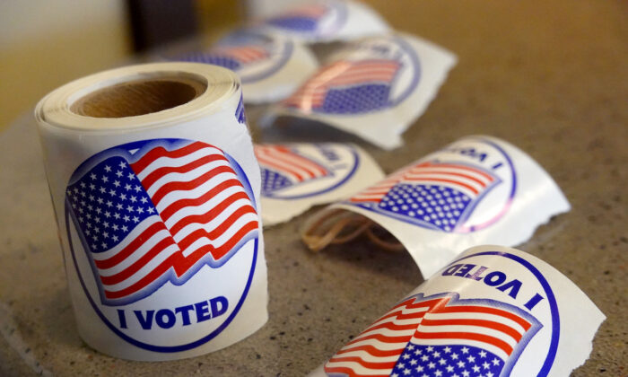 Stickers ready to be passed out to residents after they vote in Beloit, Wis., on Nov. 3, 2020. (Scott Olson/Getty Images)