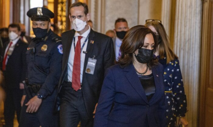 Vice President Kamala Harris leaves the U.S. Capitol after casting a tiebreaking vote on the Senate floor in Washington, D.C., on March 4, 2021. (Tasos Katopodis/Getty Images)