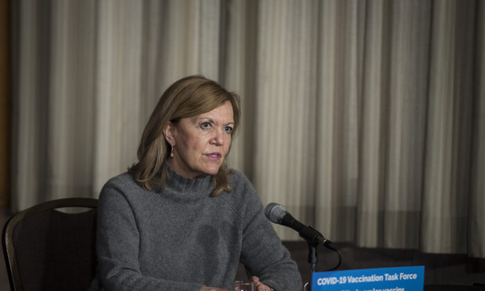 Ontario Health Minister Christine Elliott during a press conference at Queen's Park in Toronto on Dec. 11, 2020. (Tijana Martin/The Canadian Press)