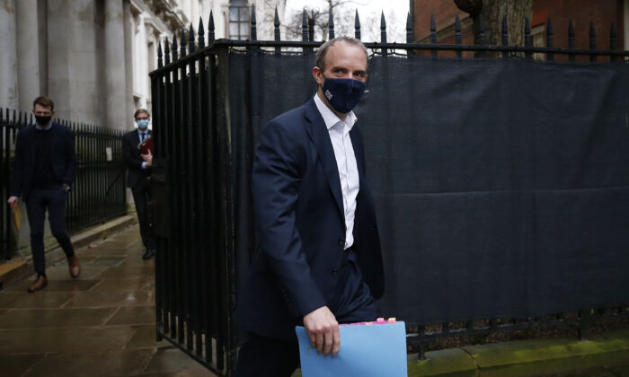 UK Foreign Secretary Dominic Raab arrives at 10 Downing Street in London, England, on Feb. 3, 2021. (Hollie Adams/Getty Images)