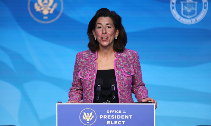 Rhode Island Gov. Gina Raimondo delivers remarks after U.S. President-elect Joe Biden announced her as his Commerce Secretary nominee at The Queen theater in Wilmington, Del., on Jan. 8, 2021. (Chip Somodevilla/Getty Images)