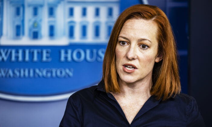 White House Press Secretary Jen Psaki speaks during the daily press briefing in the Brady Press Briefing Room at the White House in Washington on March 4, 2021. (Samuel Corum/Getty Images)