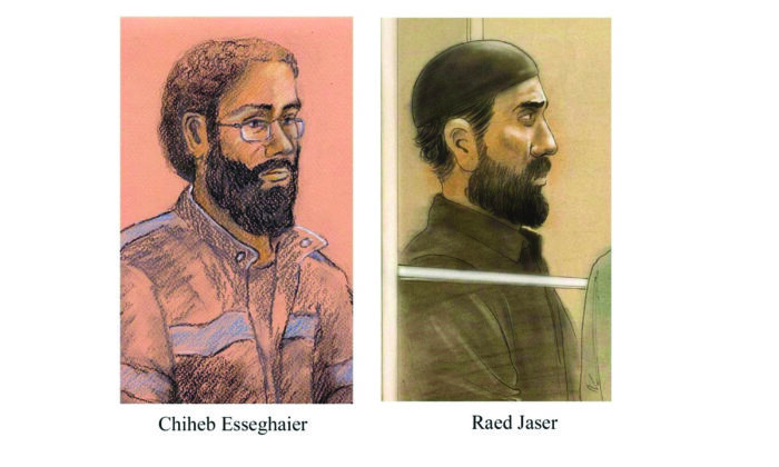 Raed Jaser and Chiheb Esseghaier are pictured in a composite of two courtroom illustrations. The Supreme Court of Canada says two men convicted of terrorism offences received a fair trial even though the judge made errors in assembling the jury.  (Tammy Hoy, John Mantha/The Canadian Press)