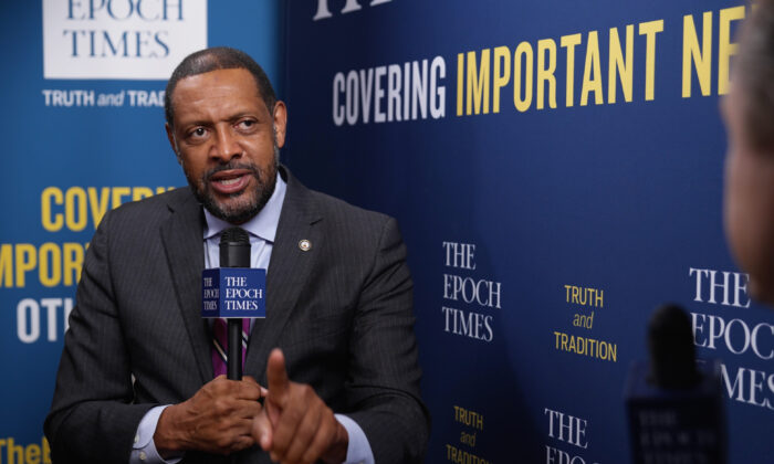 """Former Georgia state Rep. Vernon Jones, during an interview for the """"American Thought Leaders"""" program, at the Conservative Political Action Conference in Orlando, Fla. on Feb. 27, 2021. (The Epoch Times)"""
