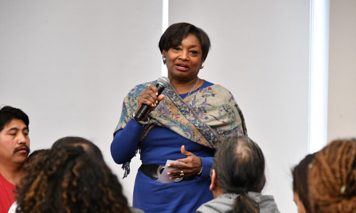 New York Sen. Andrea Stewart-Cousins speaks during an event at the Rockefeller Foundation on in New York City on Feb. 20, 2018. (Dia Dipasupil/Getty Images)