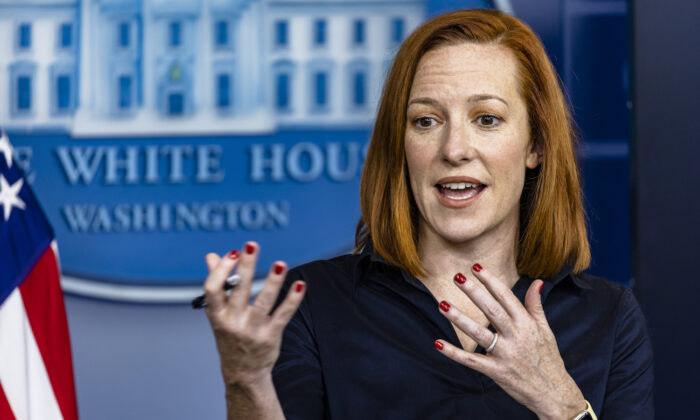 White House press secretary Jen Psaki speaks at the White House on March 4, 2021. (Samuel Corum/Getty Images)