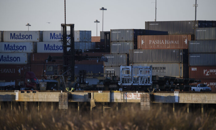 Cargo shipping containers in the Port of Long Beach in Long Beach, Calif., on Dec. 14, 2020. (Patrick T. Fallon/AFP via Getty Images)
