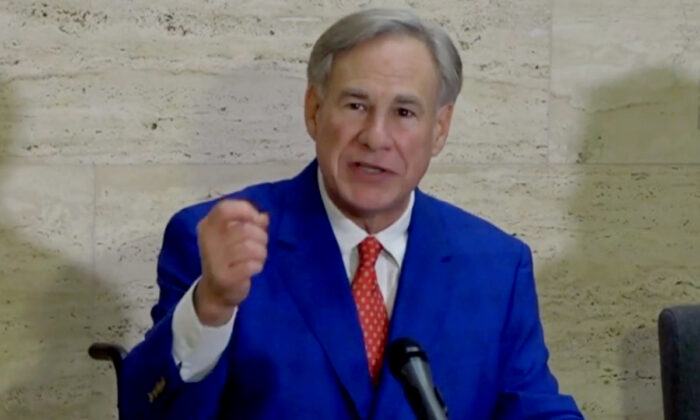 Texas Gov. Greg Abbott speaks at a press conference in Tyler, Texas, on March 5, 2021. (Screenshot/NTD)