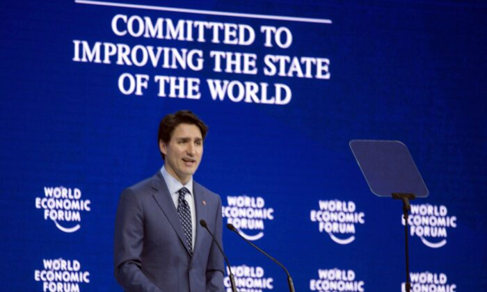 Prime Minister Justin Trudeau addresses the World Economic Forum in Davos, Switzerland, on Jan. 23, 2018. (The Canadian Press/Paul Chiasson)
