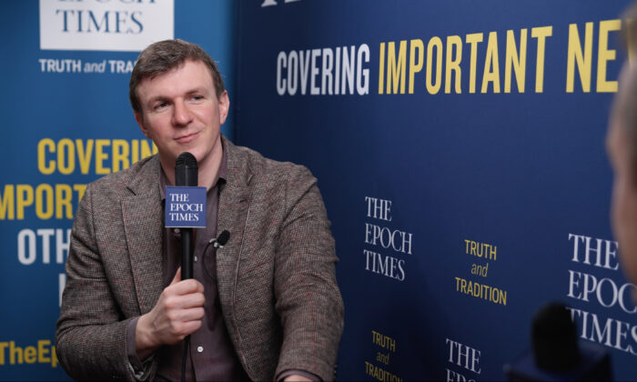 """Project Veritas founder James O'Keefe, during an interview with the """"American Thought Leaders"""" program, at the Conservative Political Action Conference (CPAC) in Orlando, Fla. on Feb. 27, 2021. (The Epoch Times)"""