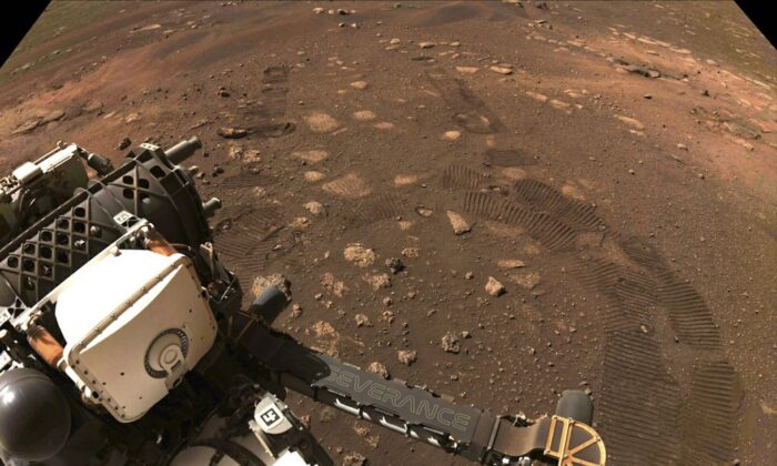 This photo made available by NASA was taken during the first drive of the Perseverance rover on Mars on March 4, 2021. Perseverance landed on Feb. 18, 2021. (NASA/JPL-Caltech via AP)
