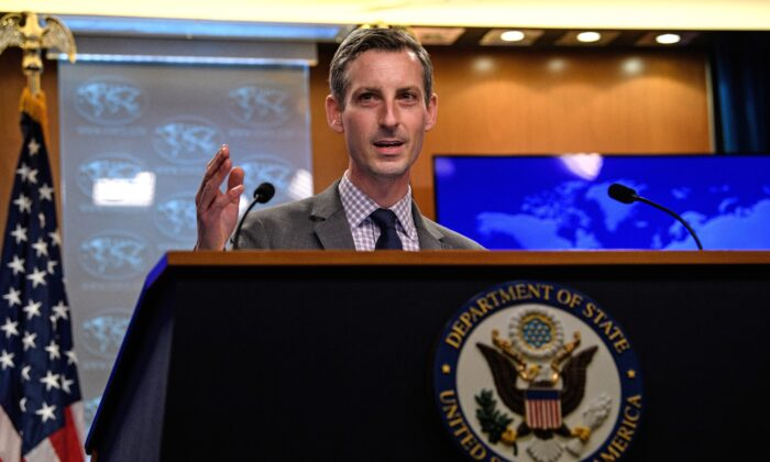 State Department spokesman Ned Price gestures as he speaks during the daily press briefing at the State Department in Washington, DC, U.S. Feb. 25, 2021. (Nicholas Kamm/Pool via REUTERS)