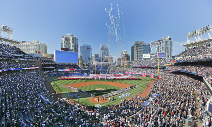 Opening day ceremonies are performed at Petco Park before a baseball game between the Los Angeles Dodgers and the San Diego Padres in San Diego, Calif., on April, 4, 2016. (Lenny Ignelzi/AP, File)