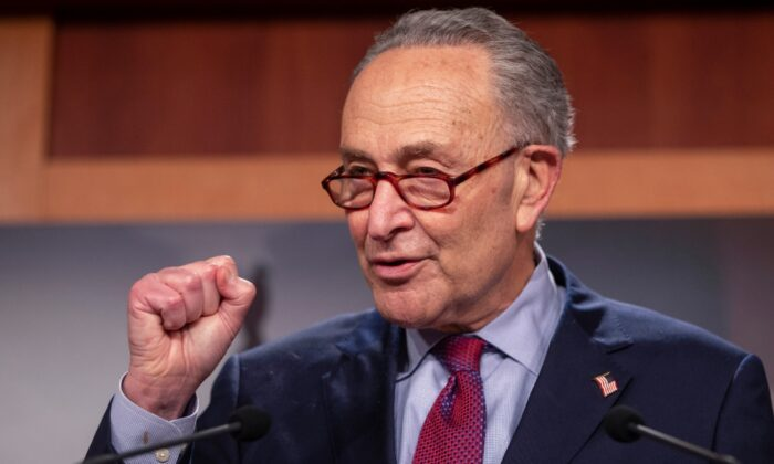 Senate Majority Leader Sen. Chuck Schumer (D-N.Y.) speaks to the press at the U.S. Capitol, in Washington, on March 6, 2021. (Tasos Katopodis/Getty Images)
