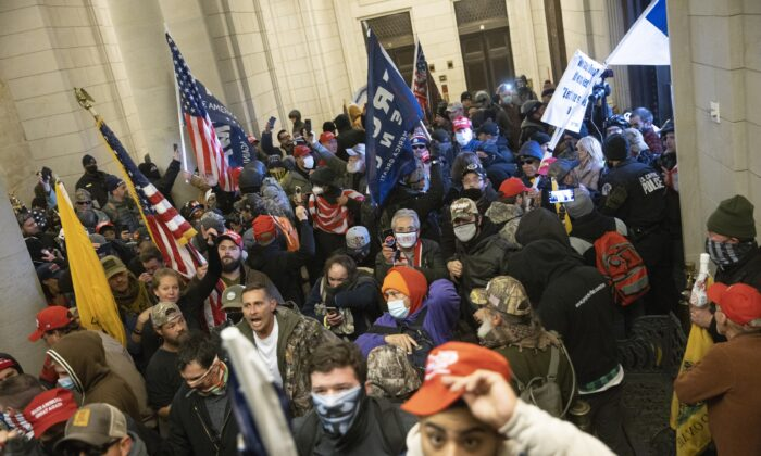 Protesters are seen inside the U.S. Capitol in Washington on Jan. 6, 2021. (Win McNamee/Getty Images)