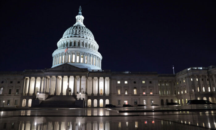 The U.S. Capitol is seen in the evening hours in Washington on March 5, 2021. (Alex Wong/Getty Images)