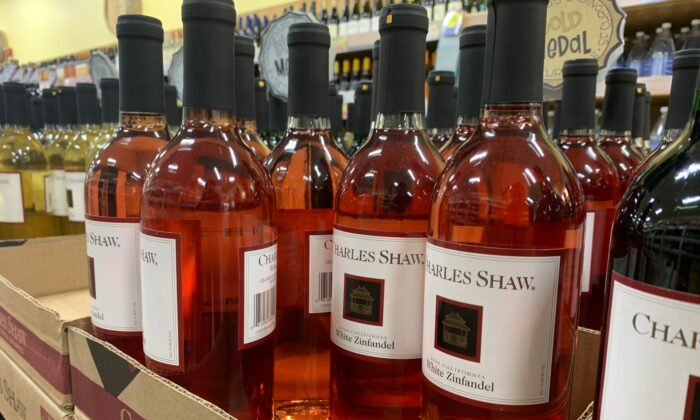 "Trader Joe's Charles Shaw wines, known as ""Two-Buck Chuck,"" recently dropped back down to their original $1.99 price tag. (DJSinop/shutterstock)"