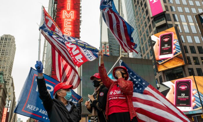 Trump supporters are seen in Times Square, New York City, on Oct. 13, 2020. (David Dee Delgado/Getty Images)