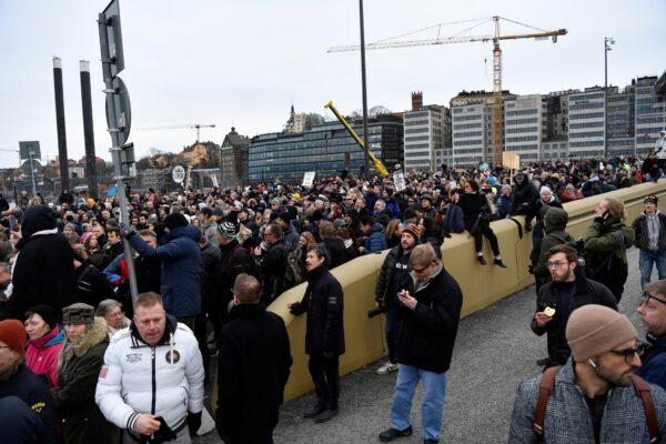 Protest in defiance of a ban on large gatherings, in Stockholm