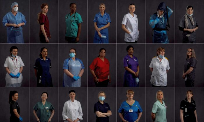 A combination picture shows East Lancashire NHS Trust healthcare workers posing for a portrait ahead of International Women's Day at The Royal Blackburn Teaching Hospital in north west England, Britain, on March 2-3, 2021. (Hannah McKay/Reuters)