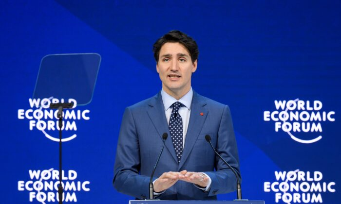Prime Minister Justin Trudeau delivers a speech during the World Economic Forum annual meeting in Davos, Switzerland, on Jan. 23, 2018. (FABRICE COFFRINI/AFP via Getty Images)