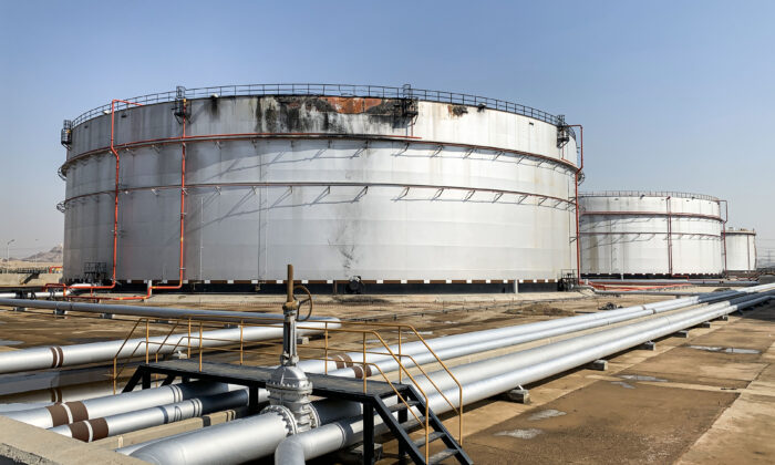A view of a damaged silo at the Saudi Aramco oil facility in Saudi Arabia's Red Sea city of Jeddah, on Nov. 24, 2020. (Fayez Nureldine/AFP via Getty Images)