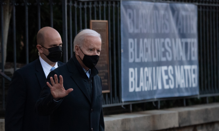 President Joe Biden leaves Holy Trinity Catholic Church in Washington on March 6, 2021. (Saul Loeb/AFP via Getty Images)