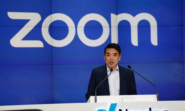 Eric Yuan, CEO of Zoom Video Communications takes part in a bell ringing ceremony at the NASDAQ MarketSite in New York City, New York, on April 18, 2019.  (Carlo Allegri/Reuters)