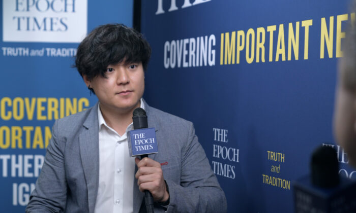 """YouTuber and content creator Kangmin Lee, during an interview with the """"American Thought Leaders"""" program, at the Conservative Political Action Conference on Feb. 28, 2021. (The Epoch Times)"""