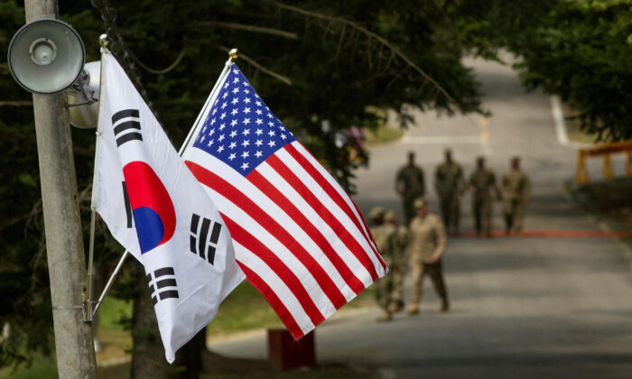 South Korean and American flags at Yongin, South Korea, on Aug. 23, 2016. (Courtesy Ken Scar/U.S. Army/Handout via Reuters)
