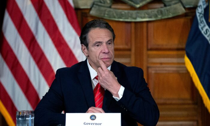 New York State Governor Andrew Cuomo speaks during his daily press briefing in Albany, N.Y., on May 1, 2020. (Stefani Reynolds/Getty Images)