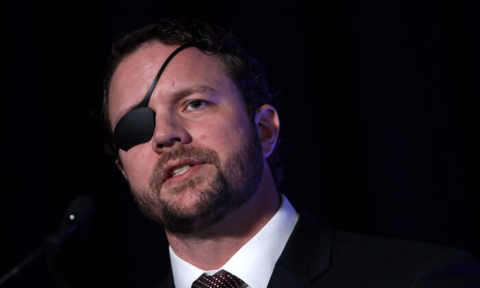 Rep. Dan Crenshaw (R-Texas) speaks during an event in National Harbor, Md., on Feb. 26, 2020. (Alex Wong/Getty Images)