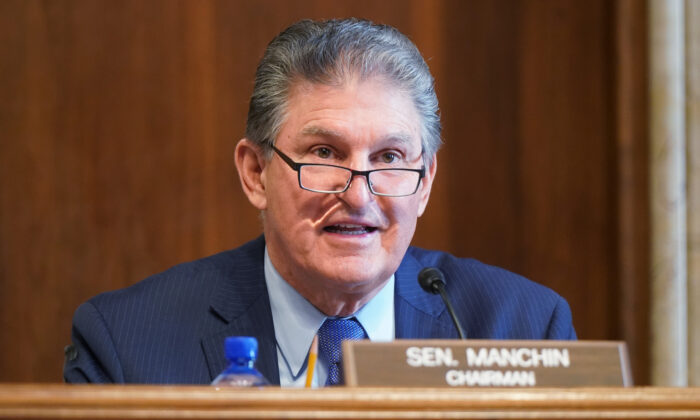 Sen. Joe Manchin, (D-WV) speaks at a confirmation hearing at the U.S. Capitol in Washington on Feb. 24, 2021. (Leigh Vogel-Pool/Getty Images)