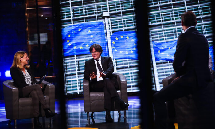 Member of European Parliament Carles Puigdemont participates in an interview at the European Parliament in Brussels, on March 9, 2021. (Francisco Seco/AP Photo)