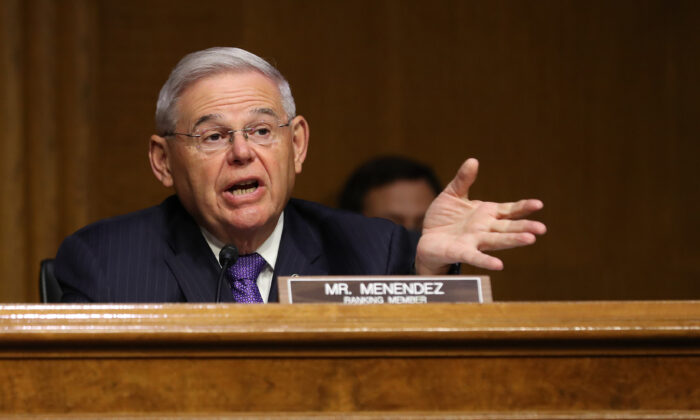 Senate Foreign Relations Committee ranking member Sen. Robert Menendez (D-NJ) questions witnesses during a hearing about Venezuela in the Dirksen Senate Office Building on Capitol Hill on August 04, 2020 in Washington, DC. (Chip Somodevilla/Getty Images)