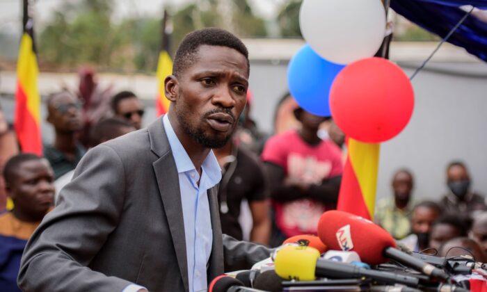 Ugandan opposition figure Bobi Wine speaks at a press conference in Kampala, Uganda, on Feb. 22, 2021. (Nicholas Bamulanzeki/AP Photo)
