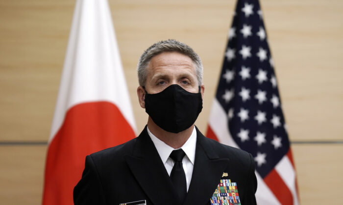 Admiral Philip S. Davidson, commander of the U.S. Indo-Pacific Command, waits to meet Japan's Prime Minister Yoshihide Suga, not in picture, prior to his courtesy call at the prime minister's office in Tokyo, Japan, on Oct. 22, 2020.  (Eugene Hoshiko/POOL/AFP via Getty Images)