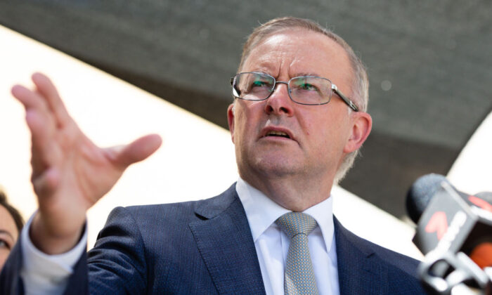 Opposition Leader Anthony Albanese speaks at a news conference after a tour of the Kwinana Nickel Refinery on March 4, 2021 in Kwinana, Australia. (Richard Wainwright-Pool/Getty Images)